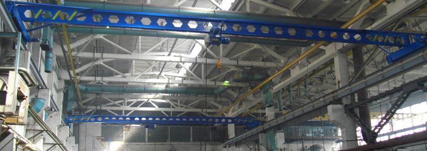 монтаж мостового крана на бетонных опорах